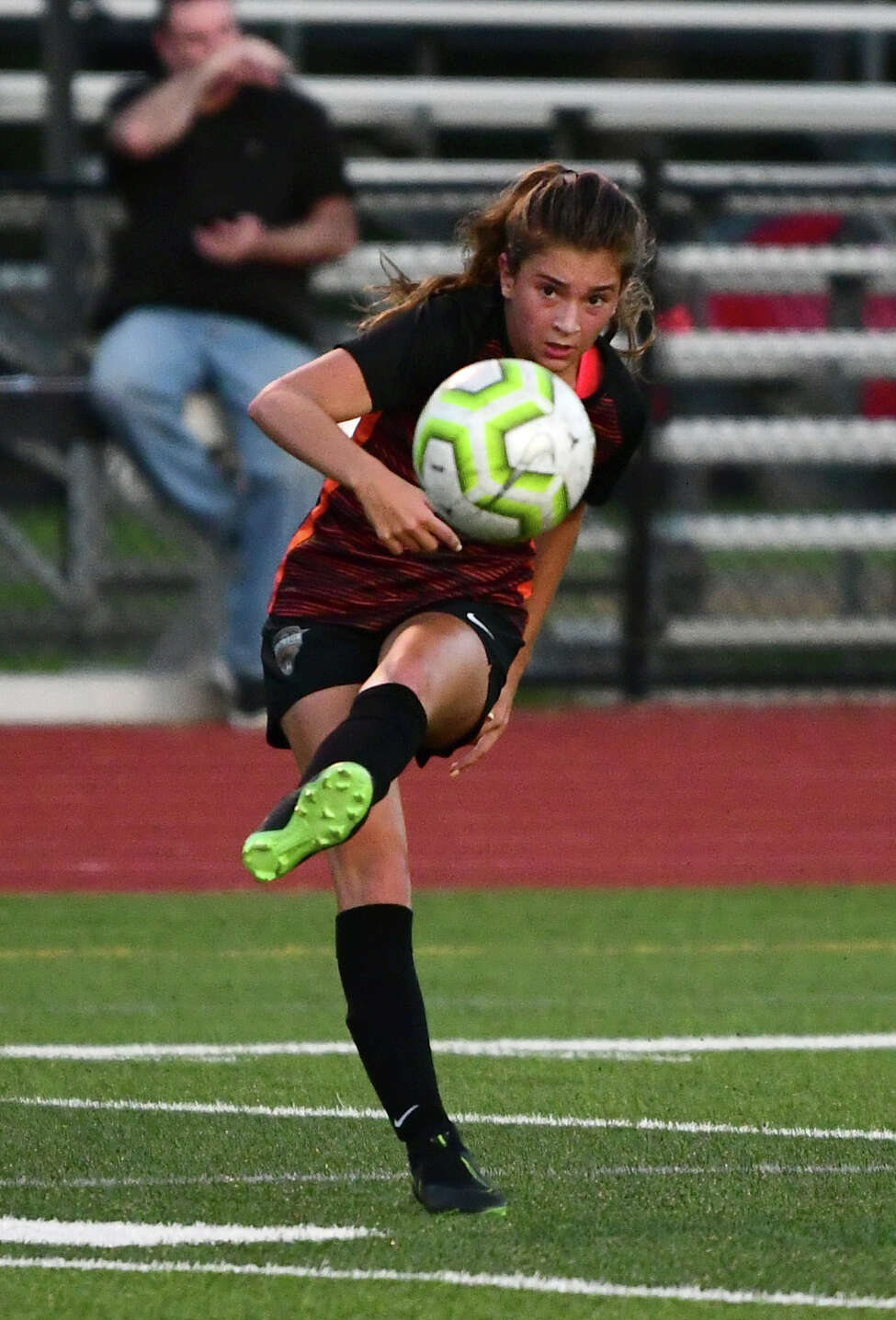 Mohonasen's Liv Raucci kicks the ball during a soccer game against Academy of Holy Names on Wednesday, Sept. 11, 2019 in Rotterdam N.Y. (Lori Van Buren/Times Union)