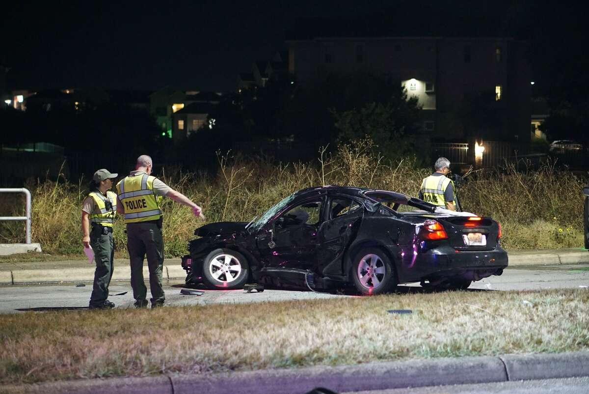 The car was heading north when it crossed a grassy median, struck a light pole and collided head on with the pickup in the 5200 block of Rogers Road on Wednesday Sept. 11, 2019.