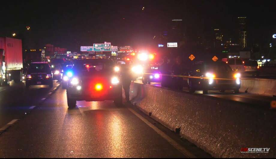 Authorities investigate a scene involving a pedestrian who was hit and killed by a vehicle Wednesday night on the Gulf Freeway. Photo: Dominic / Onscene.tv