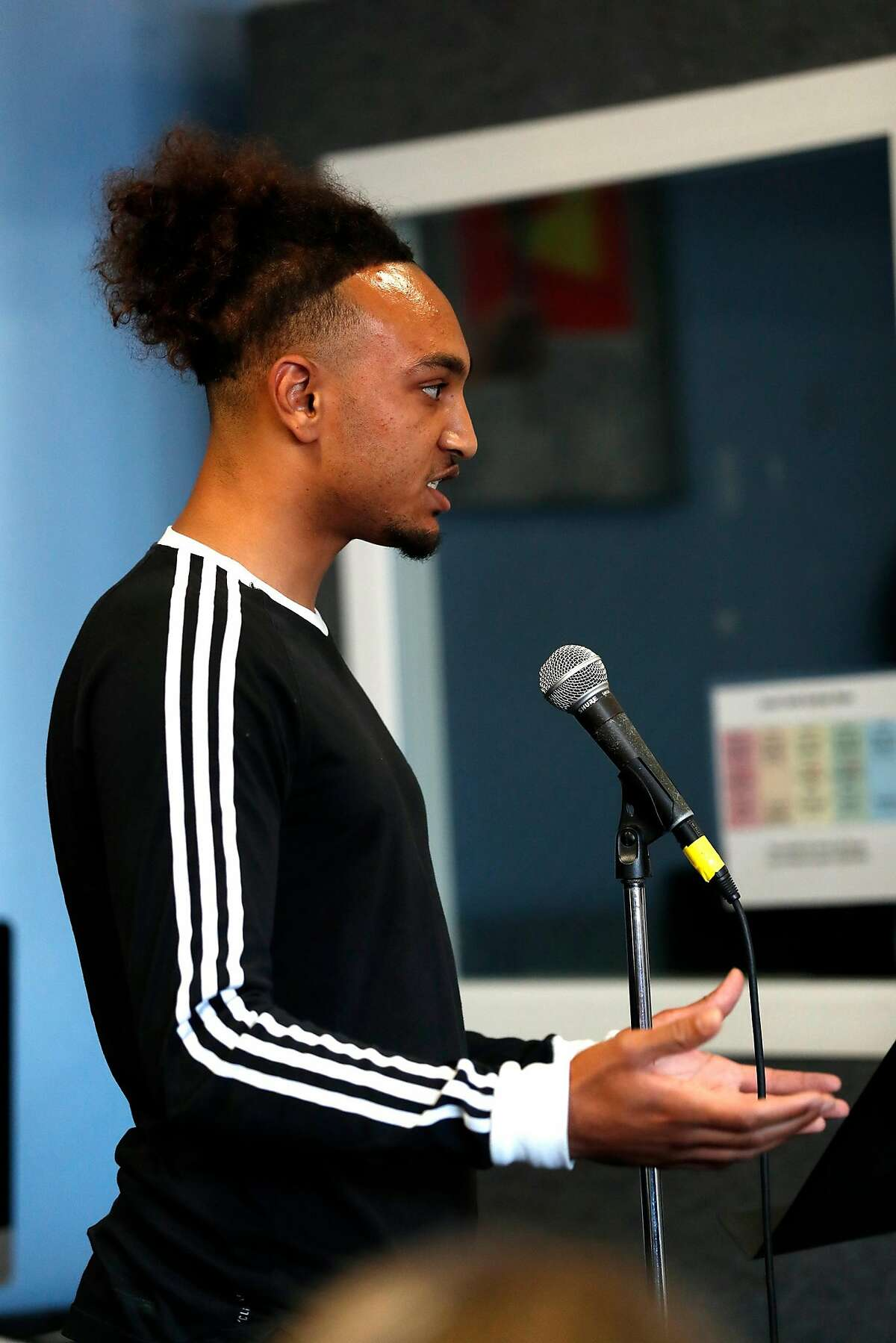 Community member Joseph Robinson addresses Juvenile Justice Commission during meeting in San Francisco, Calif., on Wednesday, September 11, 2019.