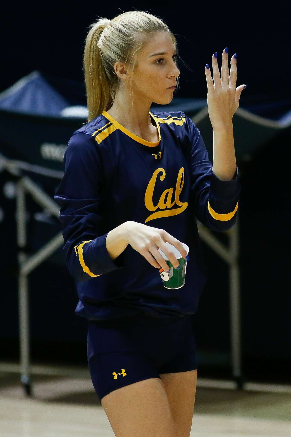 Cal Volleyball Middle Blocker Savannah Rennie (16) looks on during a match against UC Irvine at Haas Pavilion, Berkeley, California on August 25, 2017:.