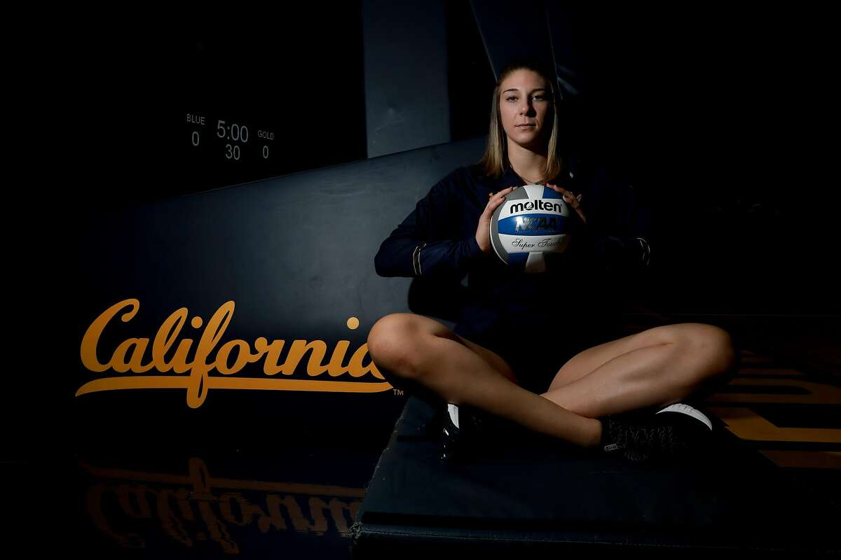 Savannah Rennie, 22, poses for a portrait in Haas Pavilion at UC Berkeley, in Berkeley, Calif., on Tuesday, September 10, 2019. Rennie, a middle blocker, was just named Pac-12 Player of the Week in volleyball as she nears the one-year anniversary of beating cancer and the two-year anniversary of a liver transplant.
