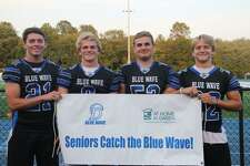 Darien Blue Wave football captains, from left, Will Kirby, Sam Wilson, Will Bothwell and John Henry Slonieski.