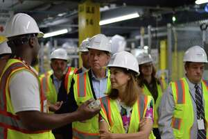 Gov. Ned Lamont and Lt. Gov. Susan Bysiewicz toured Amazon's North Haven fulfillment center for the first time Thursday June 20, 2019, part of their aggressive outreach to employers in the state.