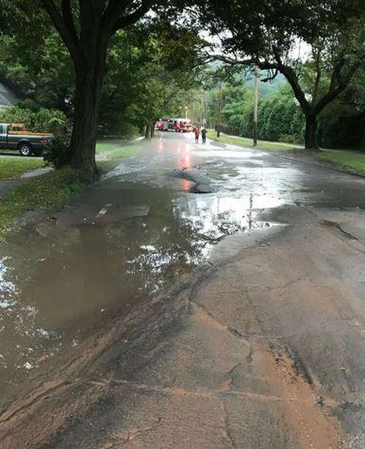 Armory Street is closed at Whitney Avenue due to a water main break and roadway damage on Thursday, Sept. 12, 2019. Photo: Hamden Fire Department Photo