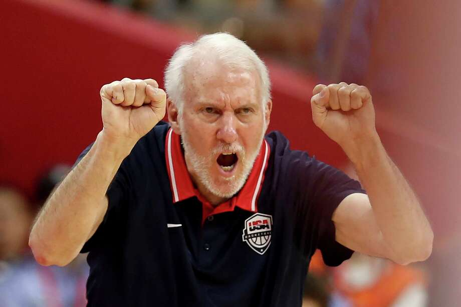 United States' coach Gregg Popovich gestures during a quarterfinal match against France for the FIBA Basketball World Cup in Dongguan in southern China's Guangdong province on Wednesday, Sept. 11, 2019. France defeated United States 89-79. Photo: Ng Han Guan, AP / Copyright 2019 The Associated Press. All rights reserved.