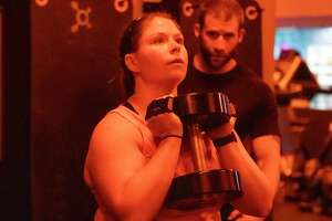 Kristina Beltran works out Tuesday, September 10, 2019 at Orangetheory Fitness in Conroe.