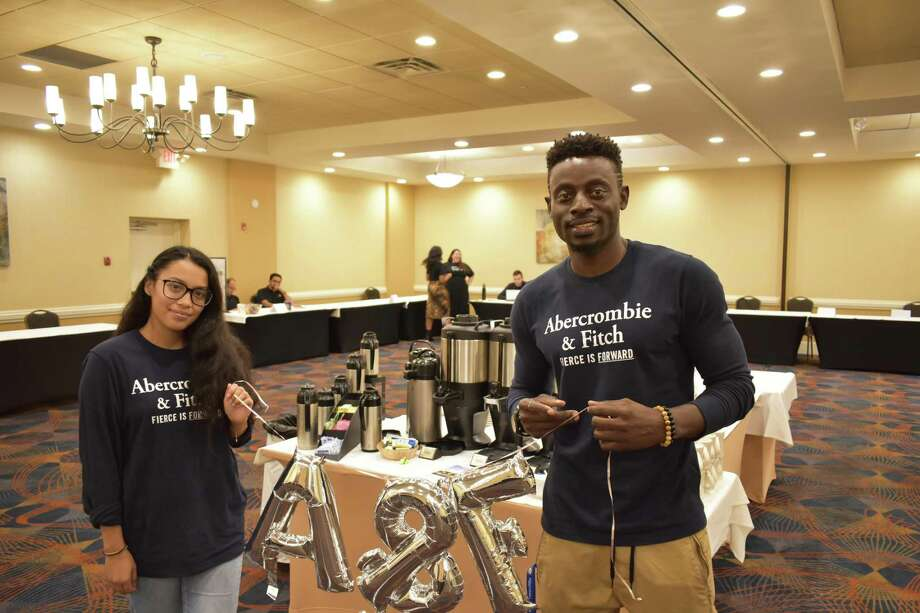 Abercrombie & Fitch recruiters Lucero Cuevas and Kamar Mohammed on Tuesday, Sept. 10, 2019, at a hiring fair for SoNo Collection retailers in Norwalk, Conn. a month in advance of the new mall's grand opening. Photo: Alexander Soule / Hearst Connecticut Media