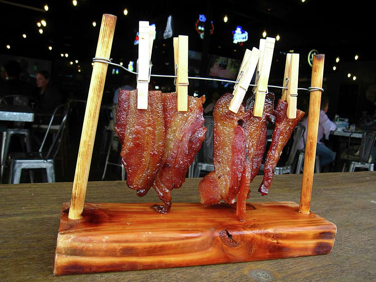 Boodreaux's Clothesline Bacon comes with a whiskey brown sugar glaze at Lucy Cooper's Ice House.