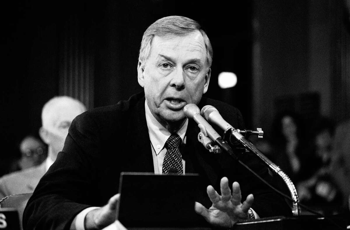 FILE - In this Dec. 20, 1984, file photo, T. Boone Pickens, of Mesa Petroleum, speaks at the Helmsley Palace Hotel in New York. Pickens, who amassed a fortune as an oil tycoon and corporate raider and gave much of it away as a philanthropist, has died. He was 91. Spokesman Jay Rosser confirmed Pickens' death Wednesday, Sept. 11, 2019. (AP Photo/David Pickoff, File)