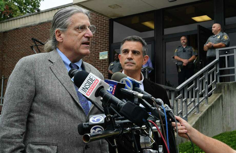 Fotis Dulos, right, appears for a press conference with his attorney Norm Pattis following his arraignment on a new tampering with evidence charge Thursday, September 12, 2019, at state Superior Court in Norwalk, Conn. Photo: Erik Trautmann / Hearst Connecticut Media / Norwalk Hour
