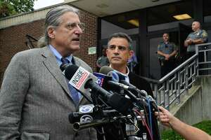 Fotis Dulos, right, appears for a press conference with his attorney Norm Pattis following his arraignment on a new tampering with evidence charge Thursday, September 12, 2019, at state Superior Court in Norwalk, Conn.