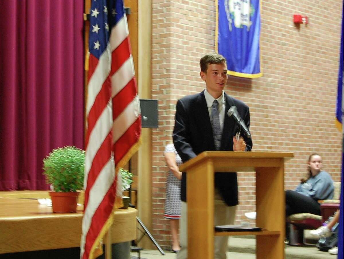Colin Holm-Hansen is this year's recipient of the Peter Burton Hanson Award for Humanity, which is presented annually to a Joel Barlow High School senior in memory of a 1987 alum who died in the terrorist attack on Sept. 11, 2001.