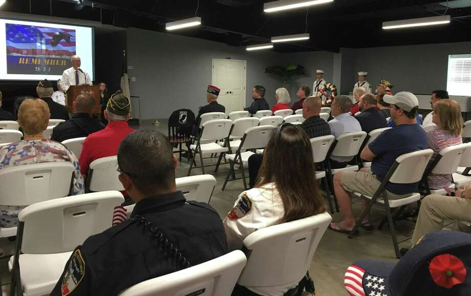 """Speaking at the Sept. 11, 2019 memorial of the 9/11 terrorist attacks, Katy Mayor Bill Hastings said, in part, """"On this 18th anniversary of attacks we must recommit ourselves as Americans to the fact that evil cannot and will not win."""" The program was organized by Katy Veterans of Foreign Wars Post 9182 and its Auxiliary. Photo: Karen Zurawski / Karen Zurawski"""