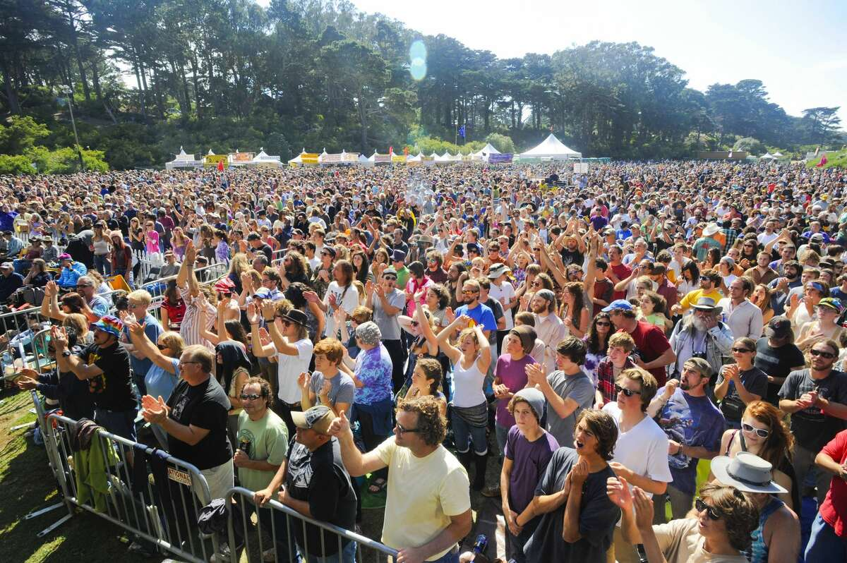 Crowd scene of fans in the audience watching Railroad Earth at the Hardly Strictly Bluegrass festival in Golden Gate Park on Oct. 3, 2010 in San Francisco, California, United States.