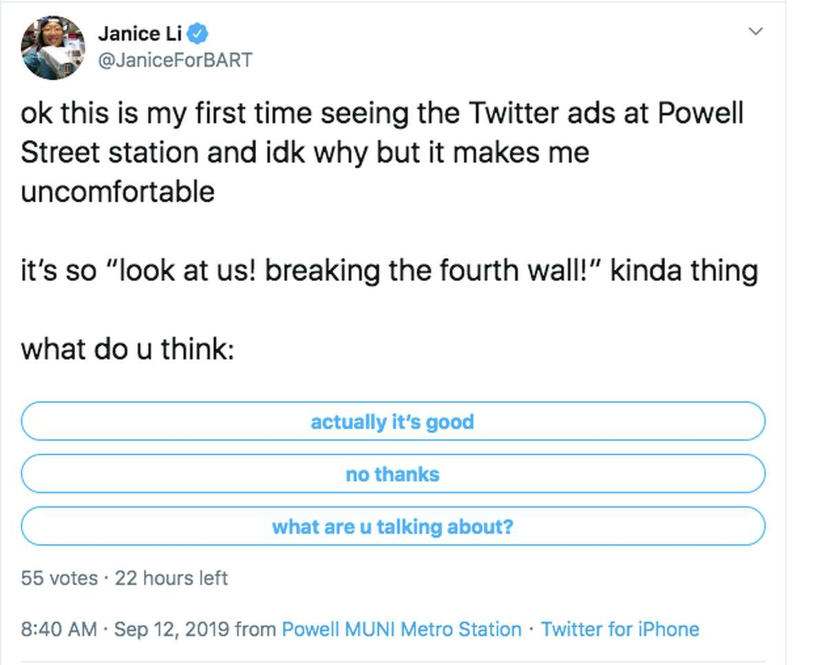 Twitter users respond the company's new marketing ads posted in the Powell Street BART Station in San Francisco.