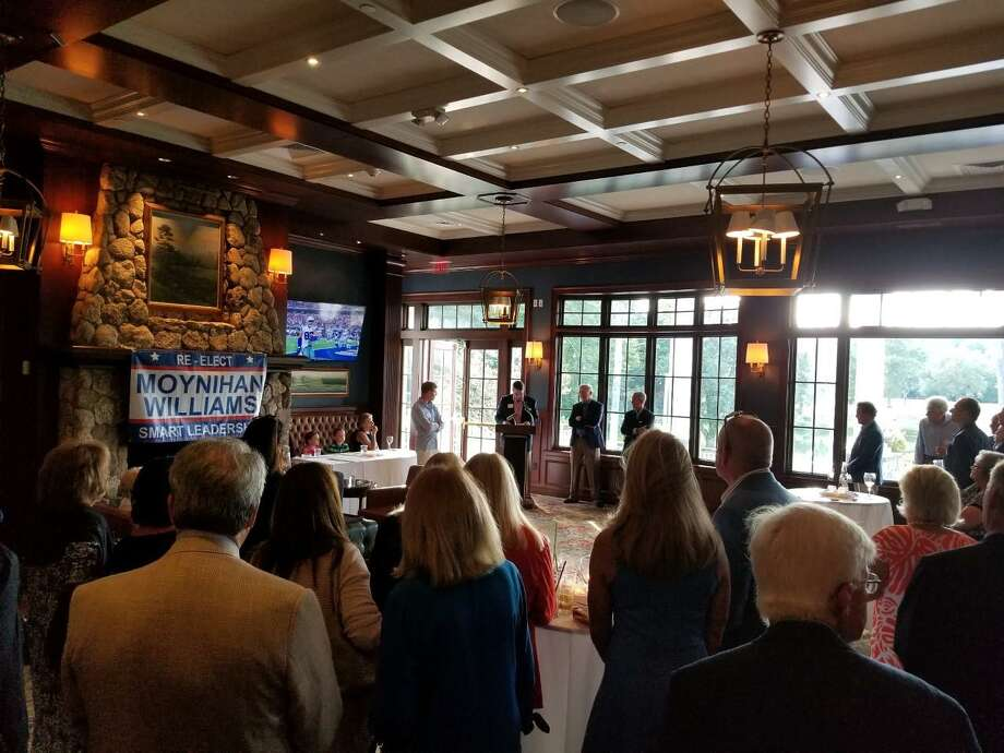Republican First Selectman Kevin Moynihan and Selectman Nick Williams at the launch event for their campaign for reelection on Sept. 8, 2019 at the Woodway Country Club in Darien, Connecticut. Contributed photo Photo: Contributed Photo