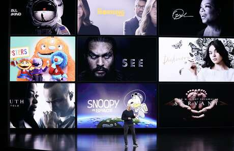 Apple CEO Tim Cook speaks about the new shows on Apple TV at the Steve Jobs Theater during an event to announce new products Tuesday, Sept. 10, 2019, in Cupertino, Calif. (AP Photo/Tony Avelar)