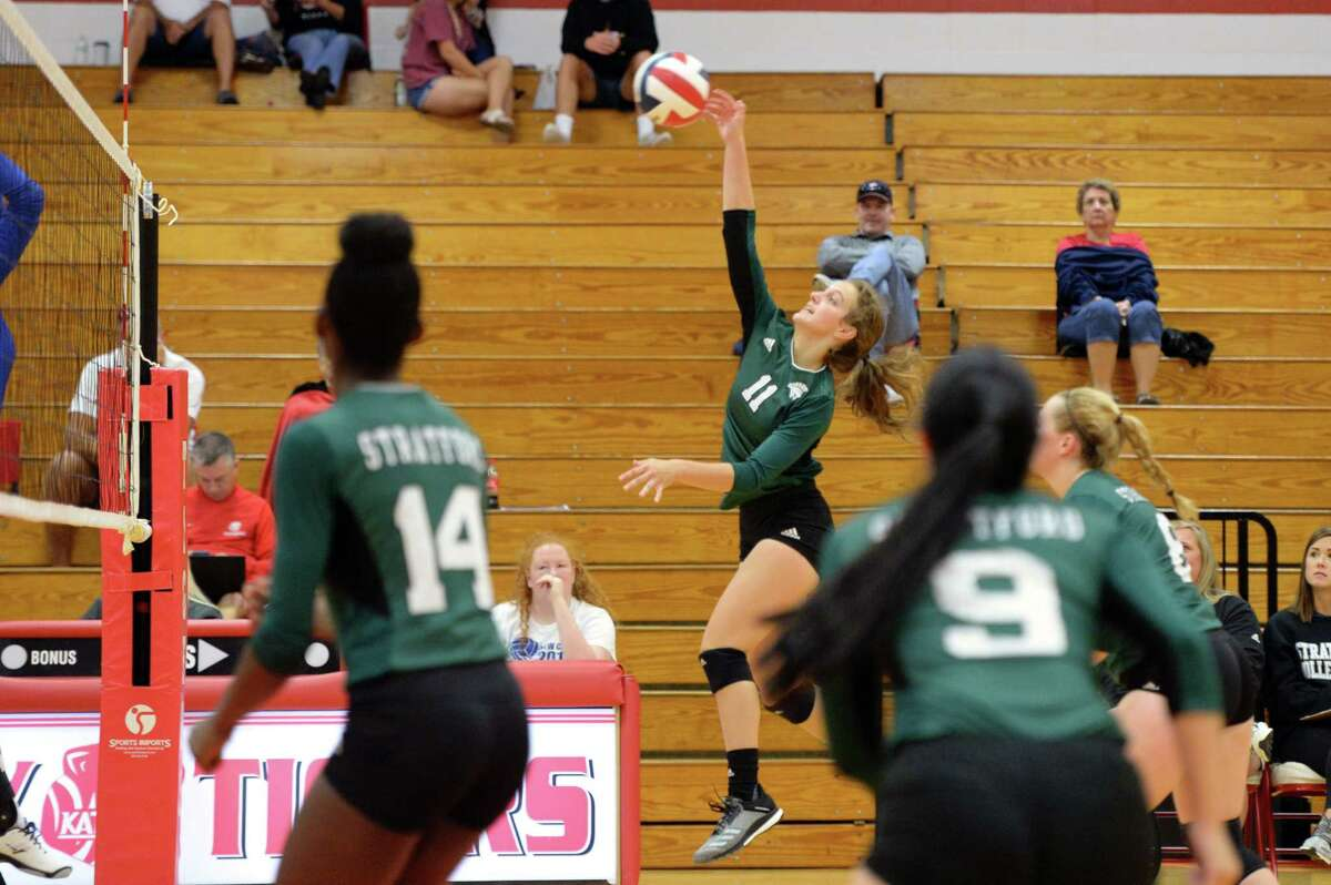 Natalie Winn (11) of Stratford attempts a kill shot in the second set of a high school volleyball match between the Stratford Spartans and the New Caney Eagles during the 2018 Katy / Cy-Fair Volleyball Classic on August 9, 2018 at Katy High School, Katy, TX.