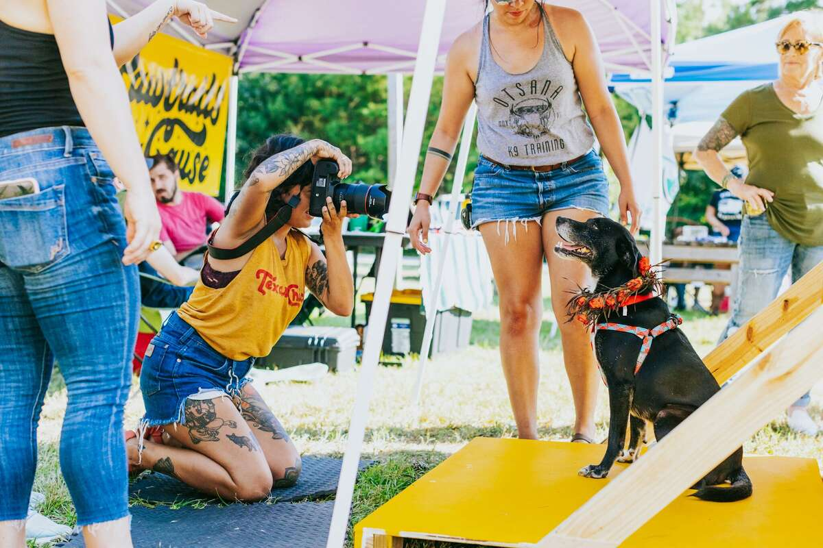 Nadine Berns photographs a dog for her most recent Pawtraits 4 a Cause event at Southern Star Brewing Company.