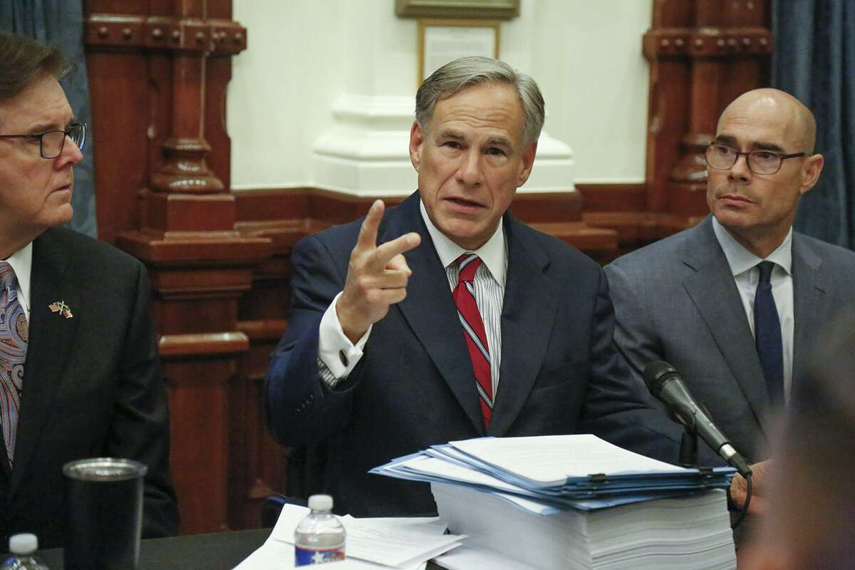 Texas Gov. Greg Abbott kicks off the first roundtable discussion, held Aug. 29 at the Capitol, in response to the shooting in El Paso that left 22 dead. Abbott on Thursday released a safety action plan with recommendations to the Texas Legislature including a ban on straw purchases that occur when someone buys a gun for another person.