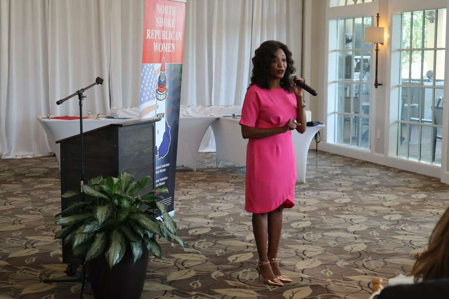 Jacquie Baly, President of BalyProjects, recently spoke to a large gathering at the North Shore Republican Women's meeting in Bentwater on her role as a Republican strategist and the upcoming 2020 election. Photo: Courtesy Photo