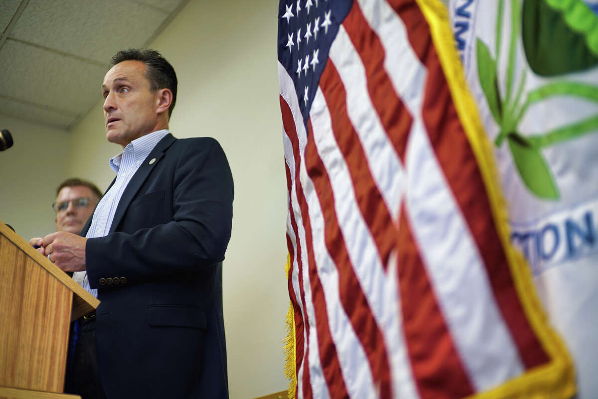 EPA Regional Administrator Pete Lopez addresses those gathered for a press conference at the EPA regional office on Thursday, Sept. 12, 2019, in Albany, N.Y. The press conference was held to talk about the repealing of the 2015 rule defining