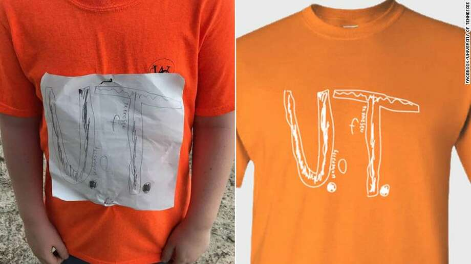 On the left, is the logo a fourth-grade boy in Florida drew because he didn't have a University of Tennessee team shirt for his elementary school College Colors Days. On right is the design adopted by the university and now for sale with a portion of the proceeds going to an anti-bullying foundation. Photo: / Facebook