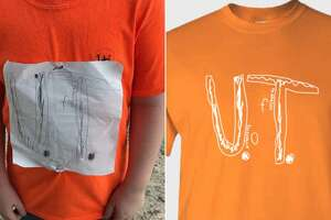On the left, is the logo a fourth-grade boy in Florida drew because he didn't have a University of Tennessee team shirt for his elementary school College Colors Days. On right is the design adopted by the university and now for sale with a portion of the proceeds going to an anti-bullying foundation.