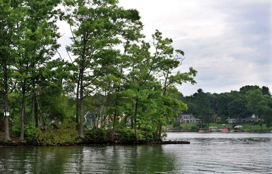 An island on Candlewood Lake in the New Fairfield, Conn. Photo: Carol Kaliff / The News-Times
