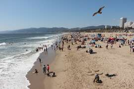 A seagull flies over Santa Monica Beach where tourists and Angelenos enjoy Easter Sunday under the sun in Santa Monica, California, on April 21, 2019. (Photo by Daniel SLIM / AFP)        (Photo credit should read DANIEL SLIM/AFP/Getty Images)