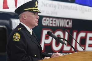 Police Chief Jim Heavey speaks during the Greenwich Police Department promotion ceremony at the Public Safety Complex in Greenwich, Conn. Thursday, Sept. 12, 2019.