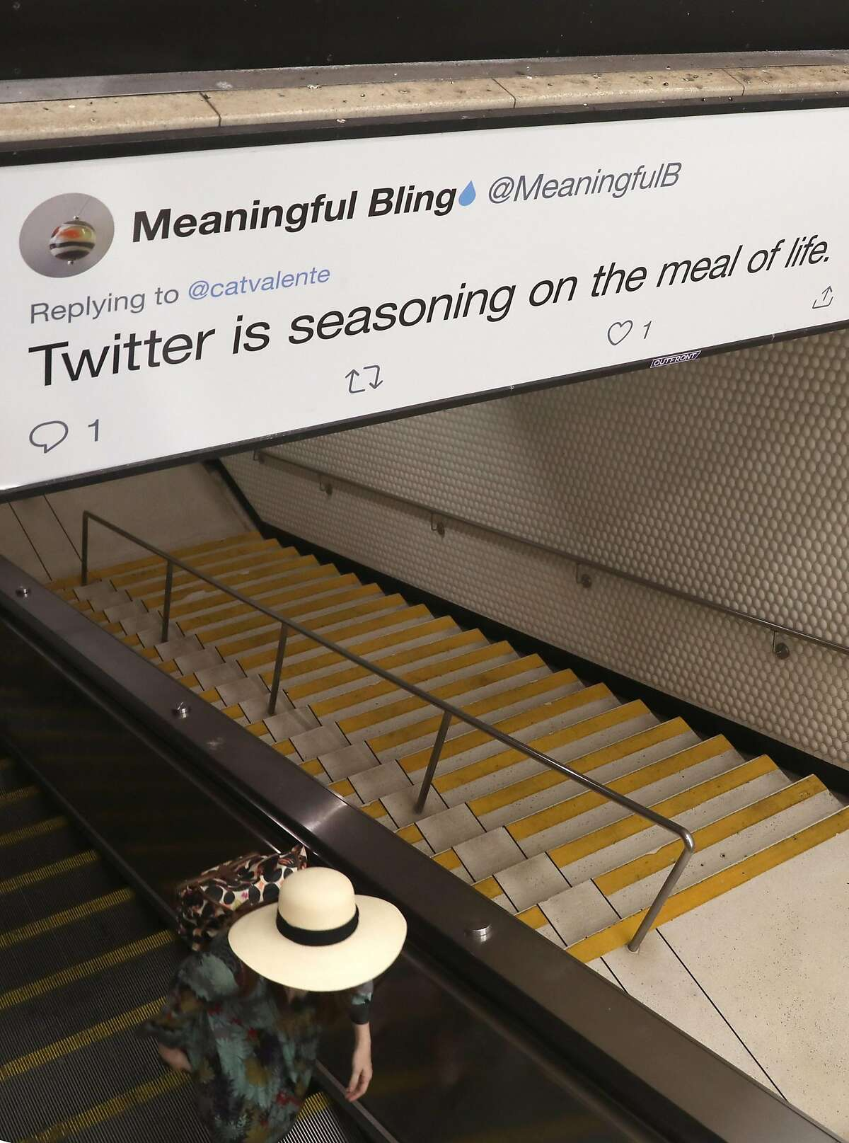 Tweets are displayed on Tweeter billboard ads inside Powell Street station on Thursday, Sept. 12, 2019 in San Francisco, Calif.