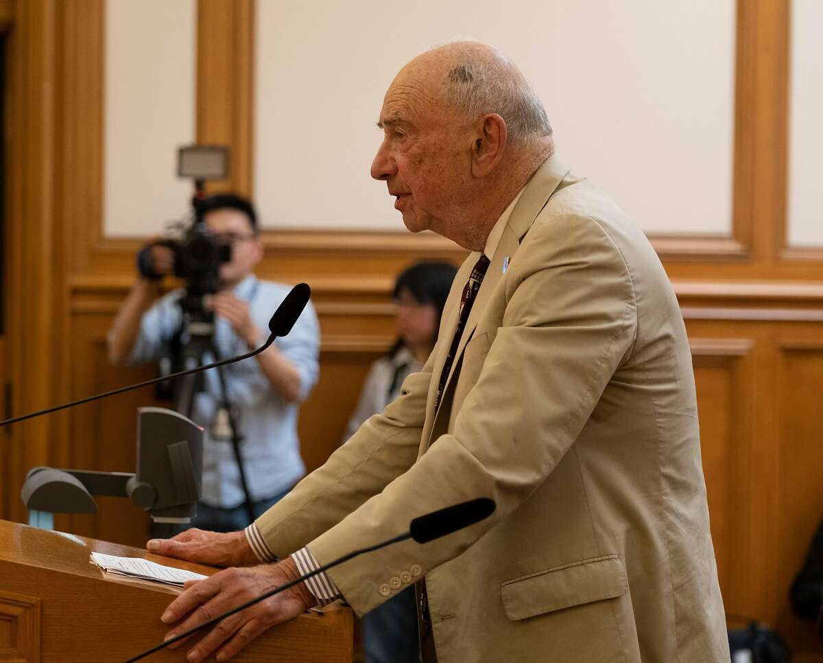 August 20, 2019 Quentin Kopp addresess the SFMTA board before a second vote on naming the Chinatown Central Station after divisive local political figure Rose Pak.