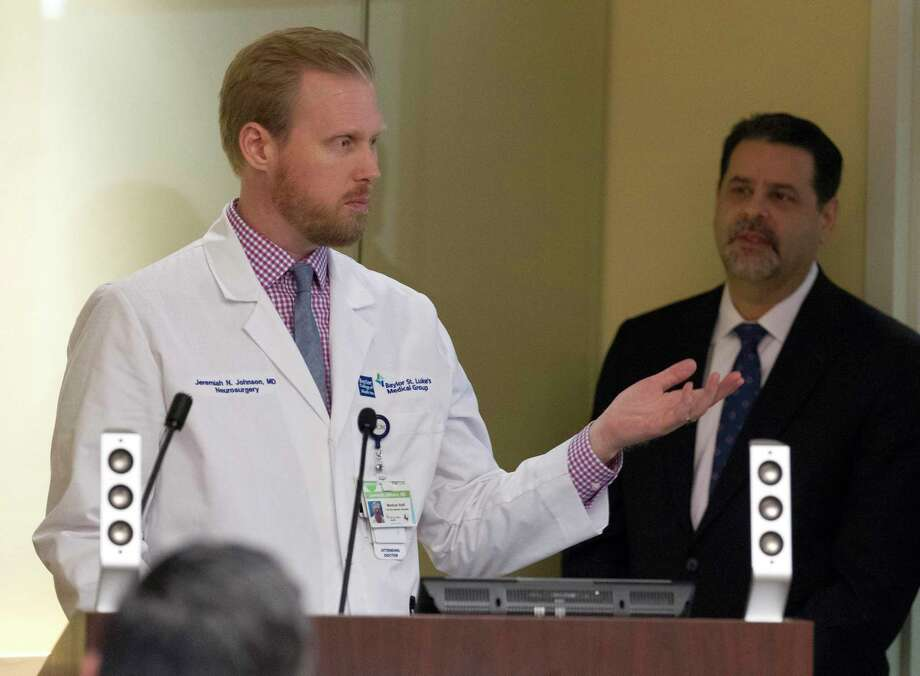 Dr. Jeremiah Johnson, cerebrovascular & endovascular neurosurgeon, speaks about the importance of seeking urgent medical care for strokes during a press conference at CHI St. Luke's Health - The Woodlands Hospital, Thursday, Sept. 12, 2019, in The Woodlands. Photo: Jason Fochtman, Houston Chronicle / Staff Photographer / Houston Chronicle