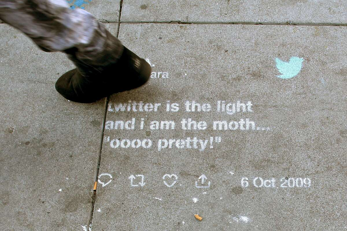 Twitter tweet drawn in chalk on a sidewalk on Taylor St. between Turk and Eddy streets seen on Thursday, Sept. 12, 2019 in San Francisco, Calif.