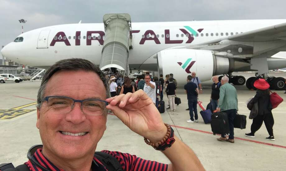 Chris McGinnis flying Air Italy in business class from Milan to San Francisco, September 2019 on an Airbus A330 Photo: Chris McGinnis