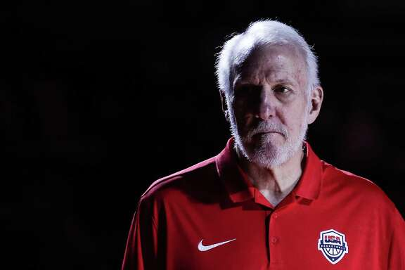 DONGGUAN, CHINA - SEPTEMBER 12: Gregg Popovich coach of USA in action during the games 5-8 of 2019 FIBA World Cup between Serbia and USA at Dongguan Basketball Center on September 12, 2019 in Dongguan, China. (Photo by Zhizhao Wu/Getty Images)