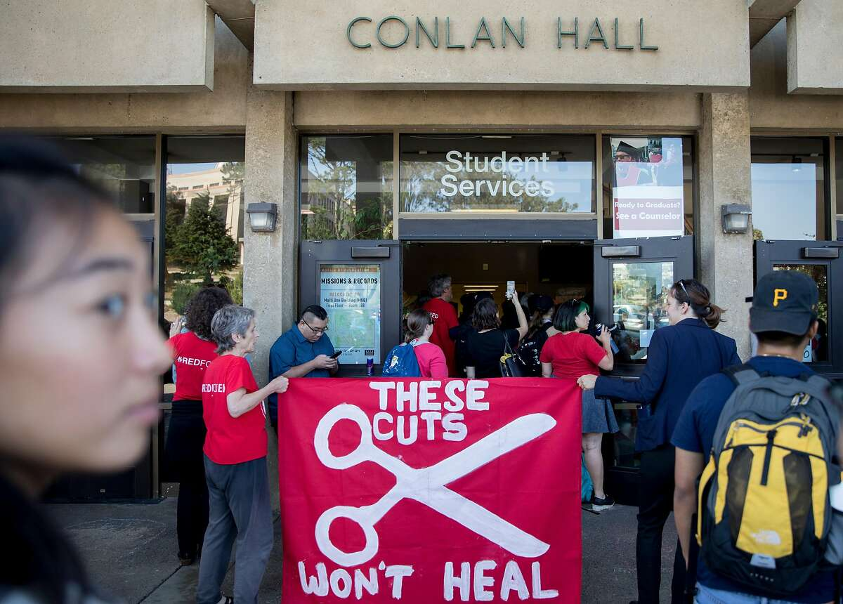 Students and faculty demonstrators gather inside and outside Conlan Hall to protest large executive raises amidst class cuts at City College of San Francisco's Conlan Hall in San Francisco, Calif. Thursday, September 12, 2019.