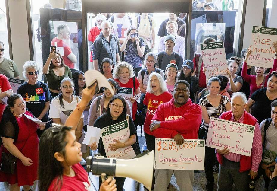 Students and faculty demonstrators chant as they gather inside Conlan Hall to protest large executive raises amidst class cuts at City College of San Francisco's Conlan Hall in San Francisco, Calif. Thursday, September 12, 2019. Photo: Jessica Christian / The Chronicle