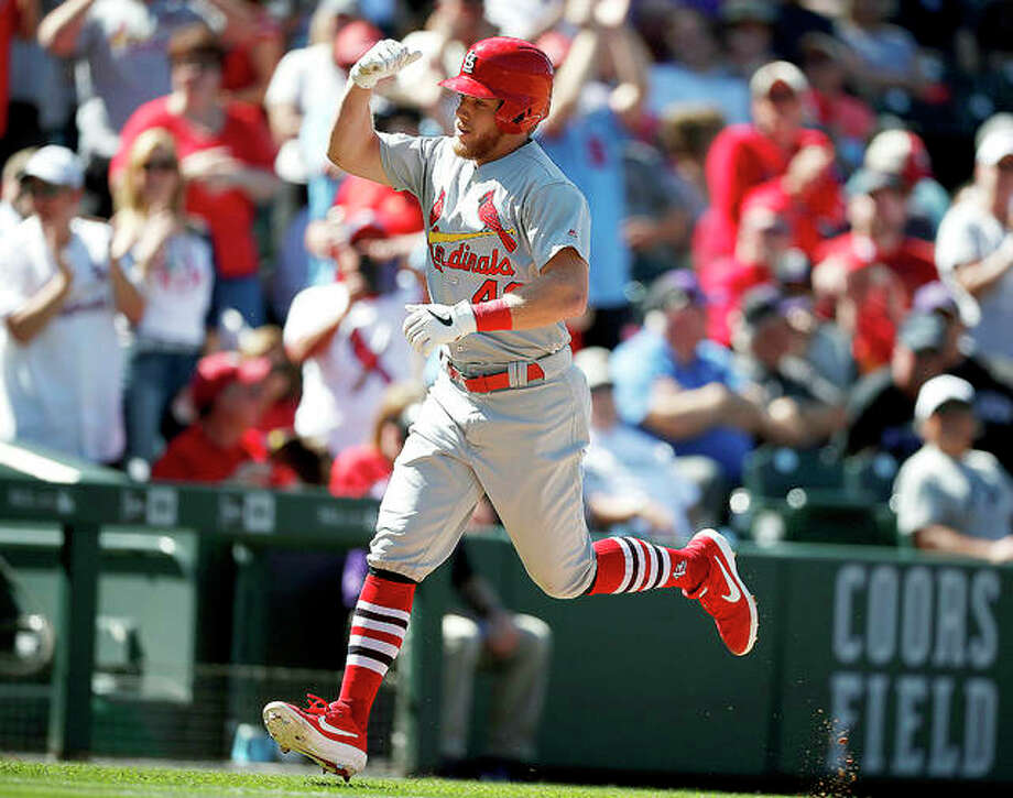 The Cardinals' Harrison Bader circles the bases after hitting a solo home run off Colorado Rockies relief pitcher Jesus Tinoco in the fourth inning Thursday in Denver. Photo: AP Photo