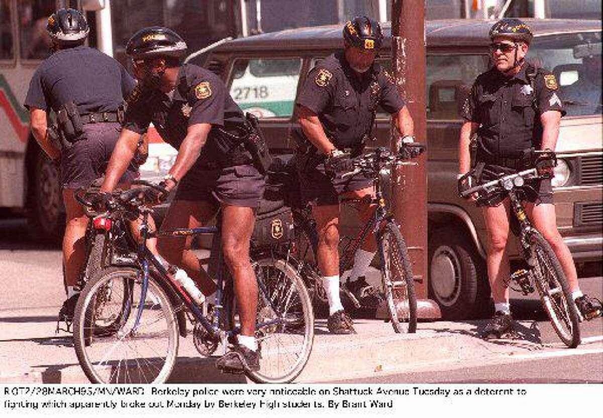 Berkeley Bicycle Police officers gather at Berkeley High School.
