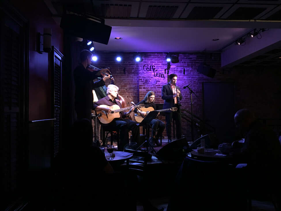 Hot Club of Saratoga performing with previous guest guitarist Sara L'Abriola at a