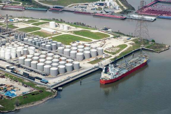 Shipping moves through the Houston Ship Channel on Wednesday, March 20, 2019, in Houston. Exports account for about 17 percent of the Houston region's economic activity, the most of any major metro area in the country. In 2019, Houston led the nation in export tonnage.