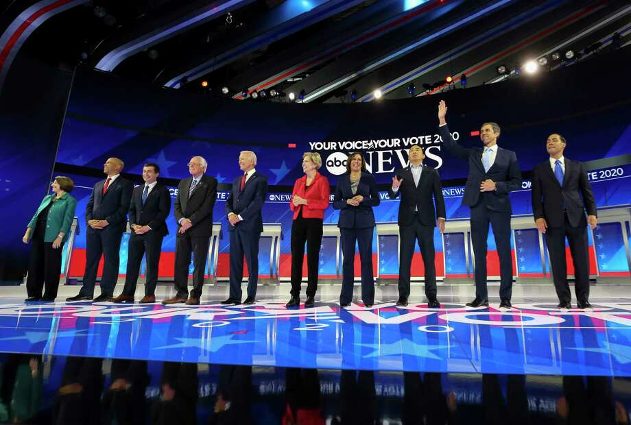 Democratic presidential candidates take the stage for the Democratic Debate inside Texas Southern University's Health & Physical Education Center on Thursday, Sept. 12, 2019, in Houston. Photo: Godofredo A Vásquez, Staff Photographer / © 2019 Houston Chronicle