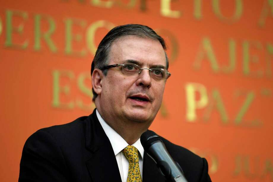 Mexican ?Foreign Minister Marcelo Ebrard speaks during a news conference at the Embassy of Mexico in Washington, Tuesday, Sept. 10, 2019. (AP Photo/Susan Walsh) Photo: Susan Walsh, STF / Associated Press / Copyright 2019 The Associated Press. All rights reserved.