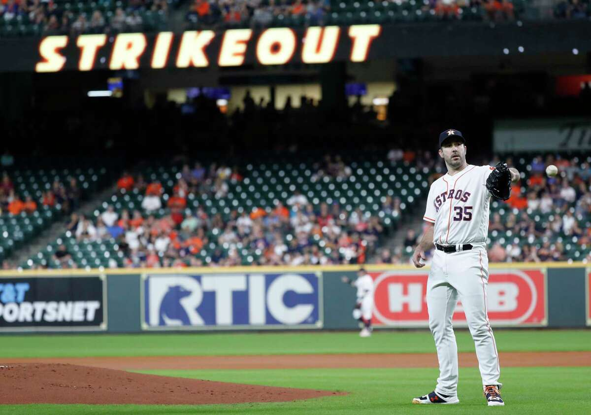 Houston Astros starting pitcher Justin Verlander (35) after striking out Oakland Athletics Matt Chapman in the first inning of a MLB baseball game at Minute Maid Park, Thursday, Sept. 12, 2019, in Houston.