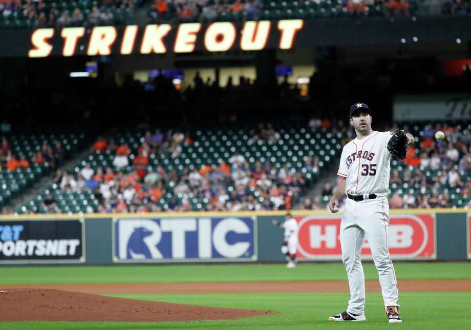 Houston Astros starting pitcher Justin Verlander (35) after striking out Oakland Athletics Matt Chapman in the first inning of a MLB baseball game at Minute Maid Park, Thursday, Sept. 12, 2019, in Houston. Photo: Karen Warren, Staff Photographer / © 2019 Houston Chronicle