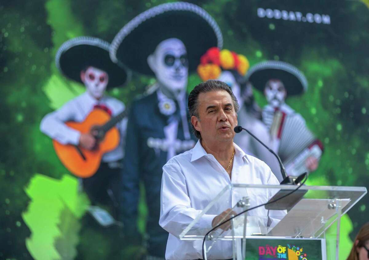 Javier Ruiz Galindo talks during a news conference announcing a new city-sponsored Day of the Dead celebration on Thursday, Sept. 12, 2019.