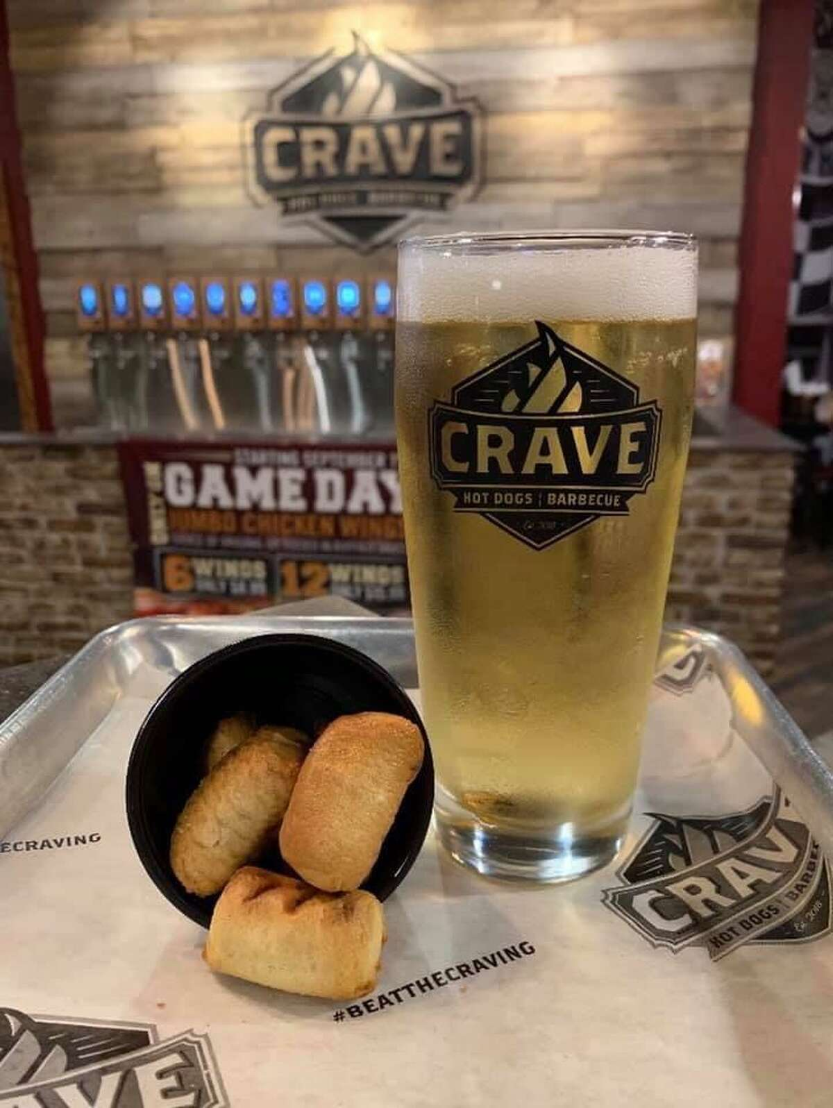 Crave Hot Dogs & Barbecue has a location in Westlake Marketplace at 14303 E. Sam Houston Parkway N.